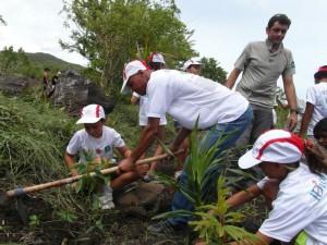 Le vendredi 15 février 2013 : les salariés d'ID Logistics OI et les élèves de l'école Rosalie Javouhey se sont tous unis pour reboiser la forêt de la Grande Chaloupe