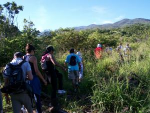 Les salariés de l'ASDR en marche vers la zone à reboiser