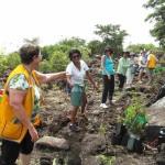 Les bénévoles forment une chaîne humaine pour l'arrosage